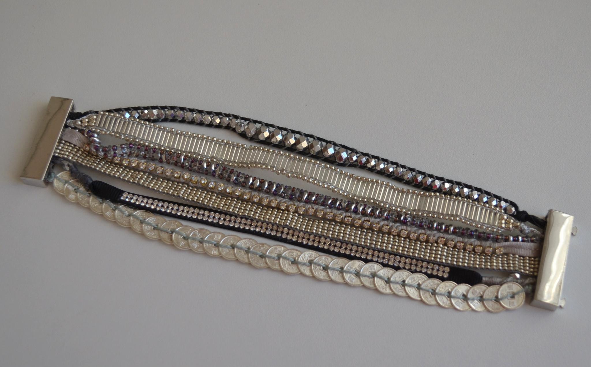 Bracelet manchette tissée perles façon hip
