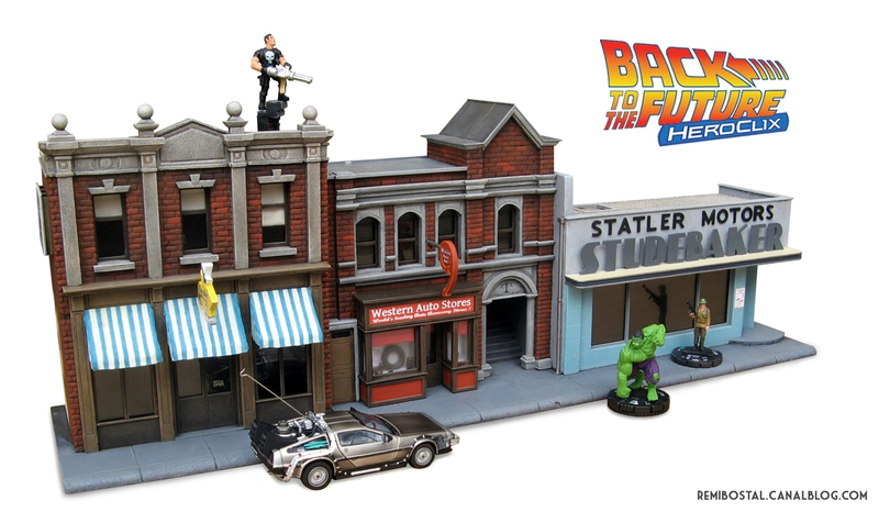 Hill Valley main street part 2 back to the future bttf heroclix remi bostal scenery miniature (1)