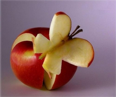 carving fruit apple-butterfly