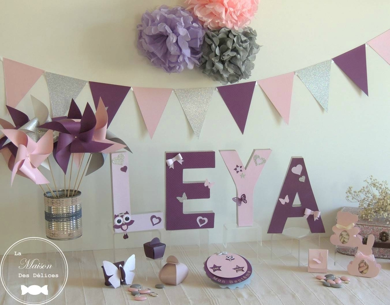 decoration bapteme mariage baby shower anniversaire moulin fanion lettres decorees pompon rose gris prune