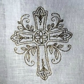 Broderie d'une croix pour du linge d'autel