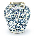 A large blue and white 'floral' handled jar, probably Vietnam, 15th century2