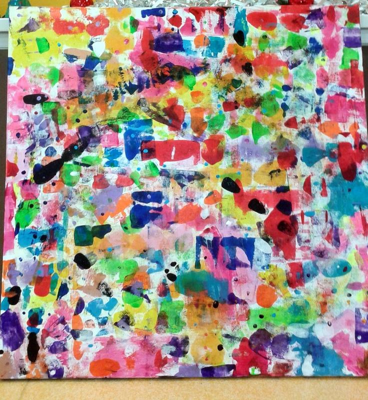 358-Personnages Animaux Monstres- Cache-cache peinture sur toile (7)