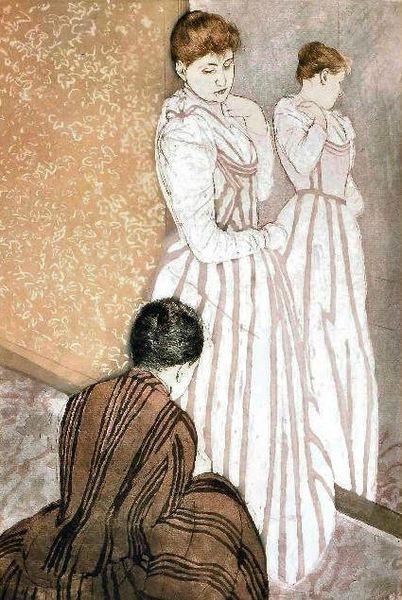 Jeune femme essayant une robe 1890-1891 pointe sèche et aquatinte