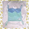 Doudou Peluche Plat Ours Blanc Bleu Lagon Poisson Kaloo