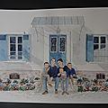 aquarelle maison+ famille