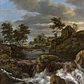 Jacob van ruisdael (haarlem, vers 1628 - amsterdam ( ?), 1682), chute d'eau dans un paysage avec deux pêcheurs