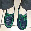 Défi des serial crocheteuses:des chaussons pour mon bebe !