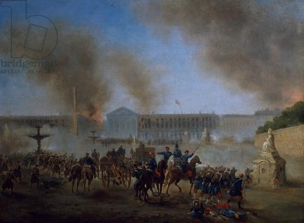 Boulanger (Gustave), arrivée de troupes place de la Concorde en mai 1871