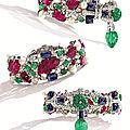 Platinum, carved colored stone, diamond and pearl 'tutti frutti' bracelet, cartier