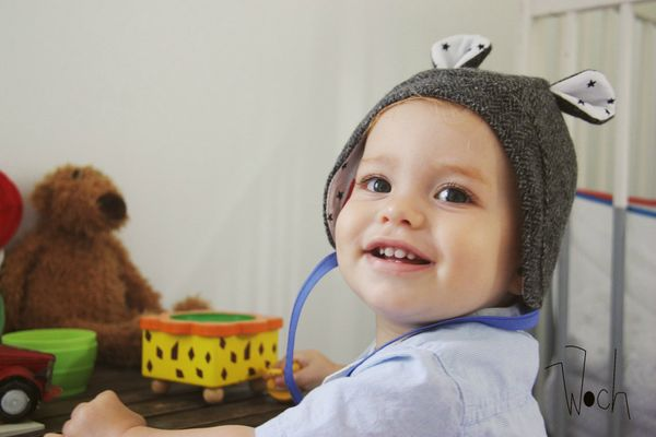 Woch béguin oreille tweed laine bonnet hiver bébé Octave 1 an