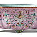 A pink-ground famille-rose jardiniere, Qing dynasty, Qianlong period (1736-1795)