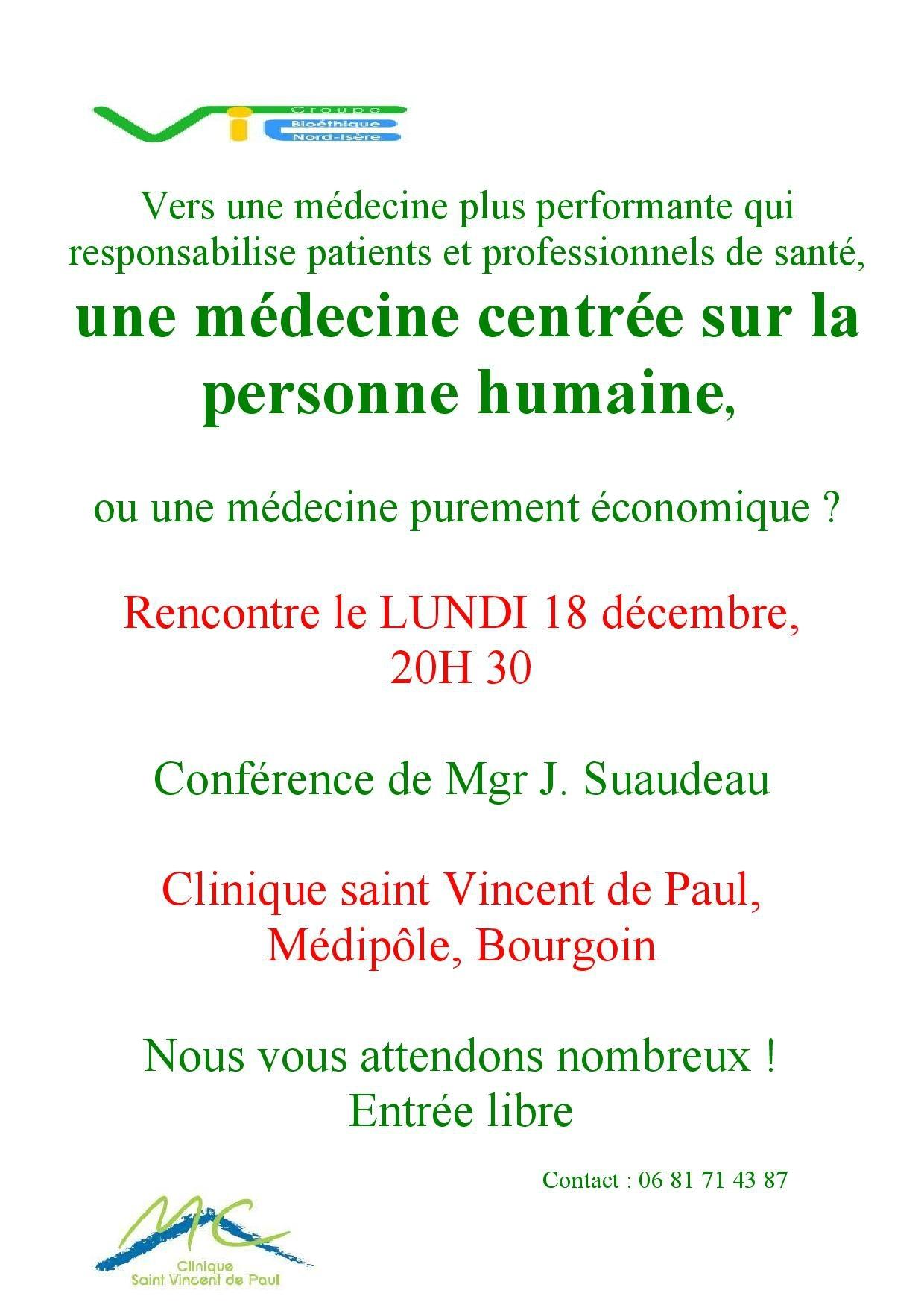 Une médecine centrée sur la personne humaine : conférence ouverte à tous