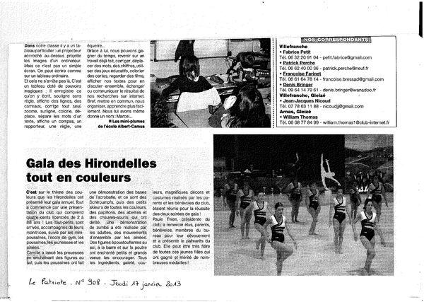 Article GALA 2013 Le Patriote n908 du jeudi 17 janvier 2013
