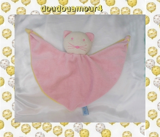 Doudou Peluche Plat Triangle Chat Blanc Et Rose Verso Jaune Grelot Pop Art