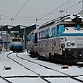 BB 67578 en voyage dans la neige, dépôt de Bordeaux