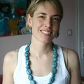 collier galet turquoise