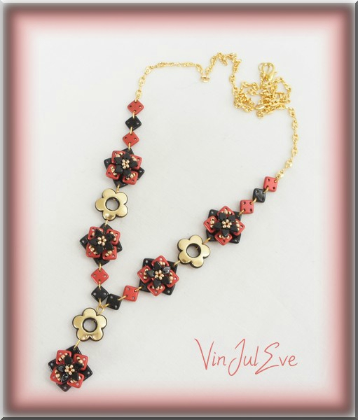 collier Foca rouge noir or1