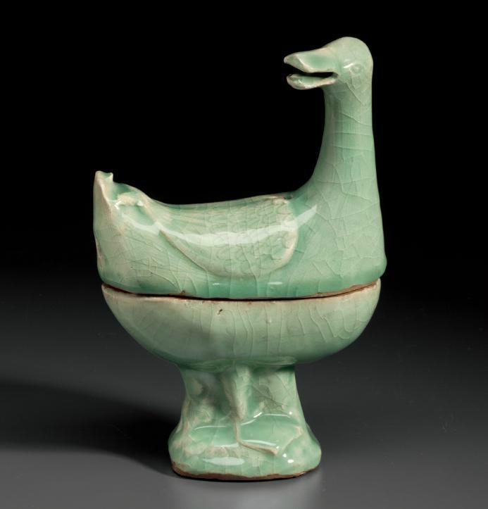 A Zhejiang celadon duck-form censer, Ming dynasty, 15th-16th century
