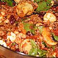 Salade surprise coeurs d'artichauts, quinoa, haricots rouges et blancs, champignons, mozzarella et concassee de tomates