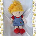 Doudou poupée chiffon blonde bleu fleur rouge gi-go toys