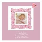 Tableau naissance ou Bapteme rose Mathilde