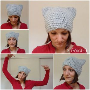 Bonnet Chat gris clair crochet oreille original artisanal