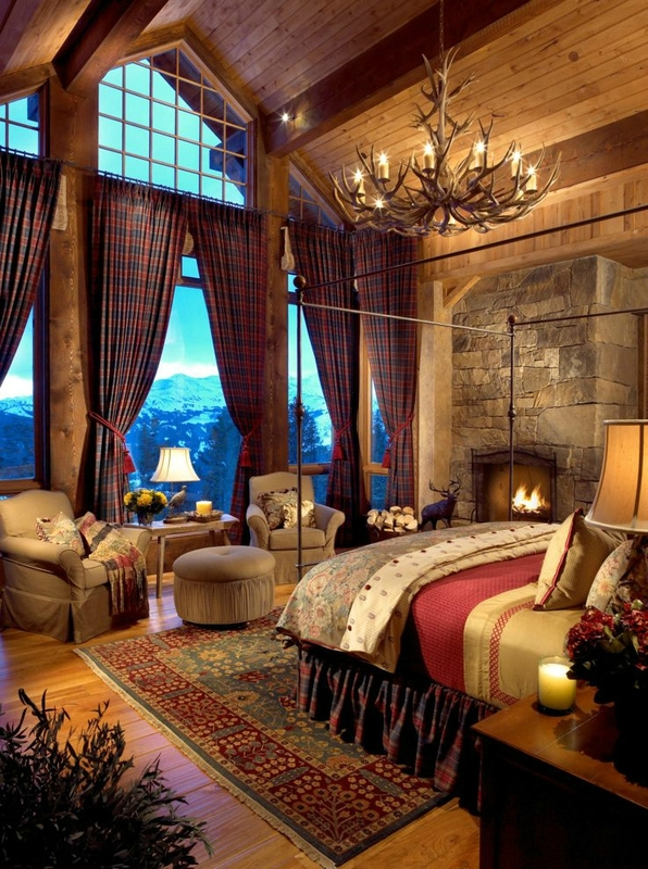 ski-lodge-fireplace-bedroom-rustic-with-wood-paneling-traditional-blankets