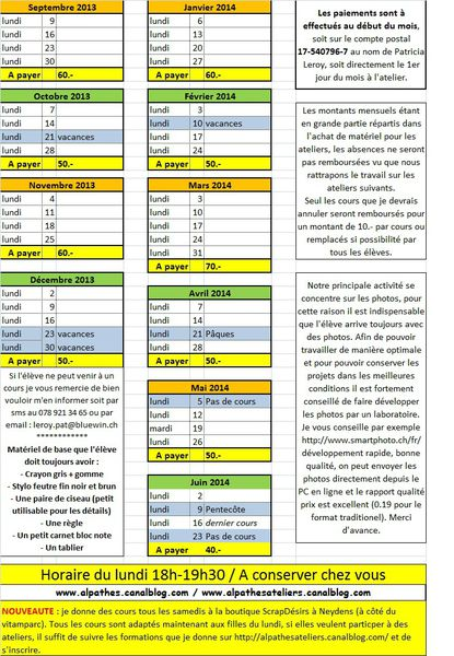 horaire 2013-2014