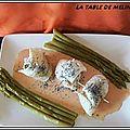 Filets de sole aux graines de pavot et asperges vertes