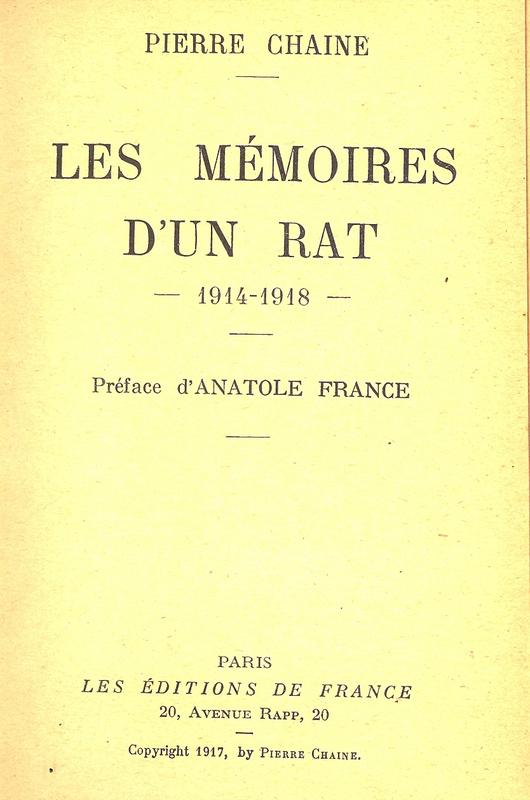 1918 12 11 Pierre Chaine Les mémoires d'un Rat