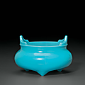 A rare opaque turquoise glass tripod censer, China, Qing dynasty, Qianlong four-character wheel-cut mark within a square and of the period (1736-1795)