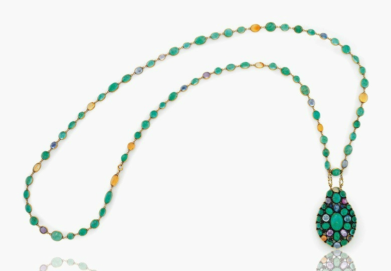a-cabochon-emerald-sapphire-colored-sapphire-and-fire-opal-pendant-necklace-6087233