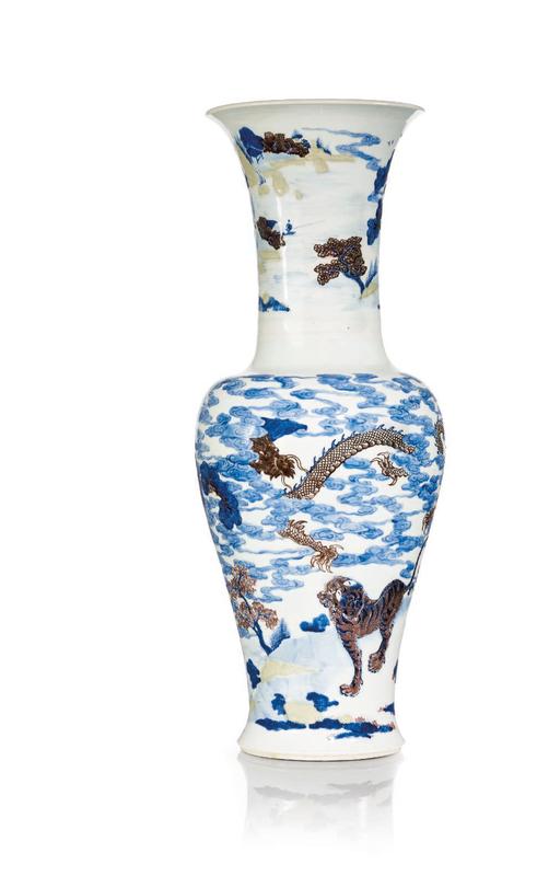 A massive underglaze blue, red and celadon vase, Kangxi period (1662-1722)