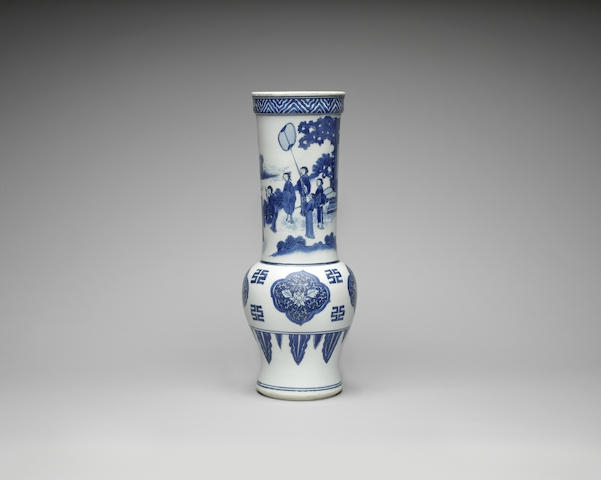 A rare blue and white baluster vase, Chongzhen period (1627-1644)