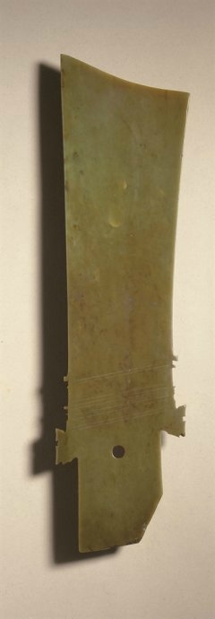 A rare brownish-olive jade ceremonial blade, yazhang, Northwest China, possibly Qijia culture, circa 2000-1700 BC