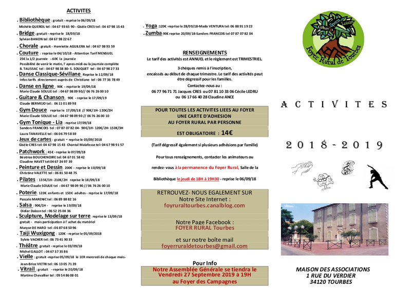 VERSO PLANNING ACTIVITES 2018-2019 MODIFIE