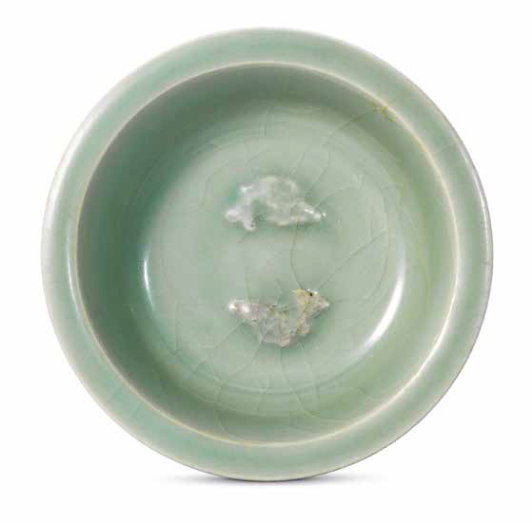A small Longquan celadon 'Twin fish' washer, Southern Song dynasty (1127-1279)