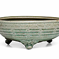 A Longquan celadon 'Eight trigrams' tripod censer, Late Yuan-Ming dynasty