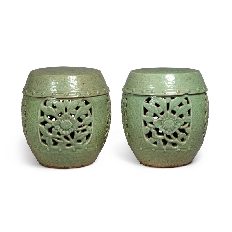 A pair of pierced and carved 'Longquan' celadon-glazed garden seats, Ming dynasty (1368-1644)