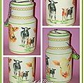 Pot lait 1 22x11,5cm,bois peint et serviettes collées