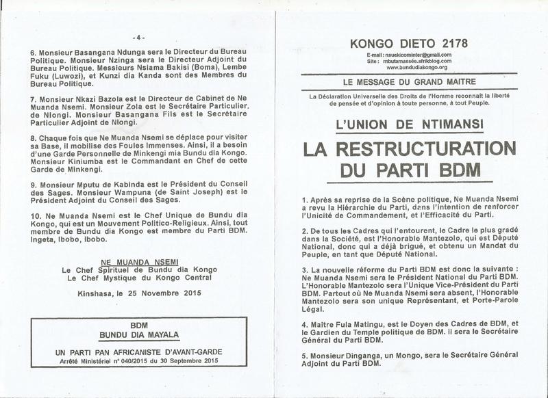 LA RESTRUCTURATION DU PARTI BDM a