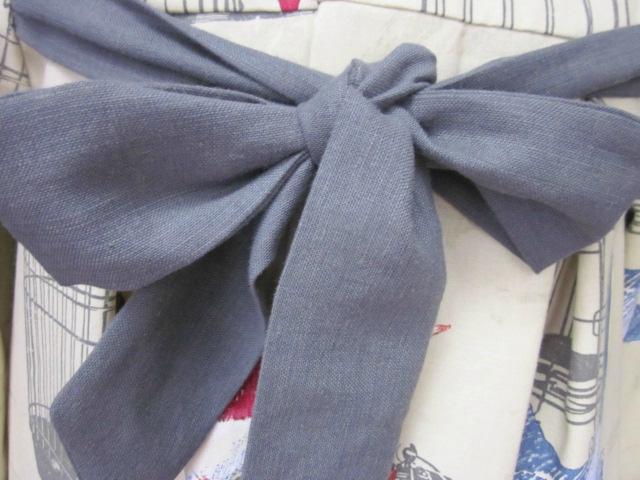 Manteau AGLAE en toile de coton beige imprimé oiseaux et cage - noued de lin gris (4)