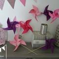 moulins à vent rose violet fuchsia décoration chambre fille mariage anniversaire baptême