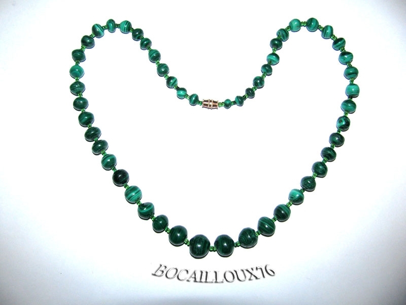 Collier MALACHITE 14 Perles D.6-13mm - Fermoir à VIS DORE