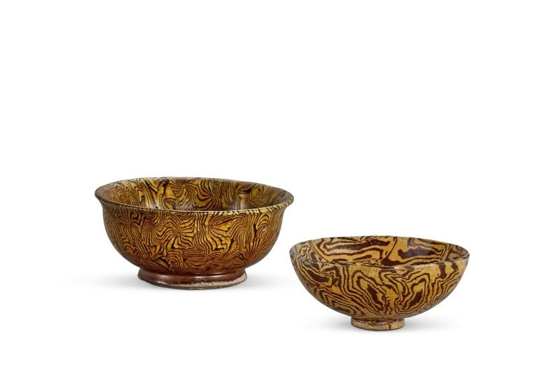 An amber-glazed marbled washer, Tang dynasty, and an amber-glazed marbled bowl, Northern Song dynasty