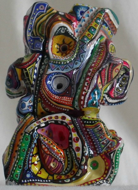 Hervé THAREL - SCHMIMBLOCK'S inca 2012 - gouache T7 sur argile - 13cm x 7cm (1)