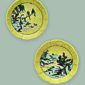 Two very rare famille verte yellow-ground lobed brush washers, kangxi six-character marks and of the period (1662-1722)