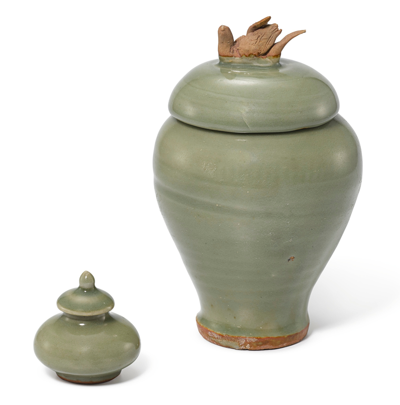 A Longquan celadon jar and cover, Yuan dynasty and a miniature Longquan celadon jar and cover, Ming dynasty, 15th century