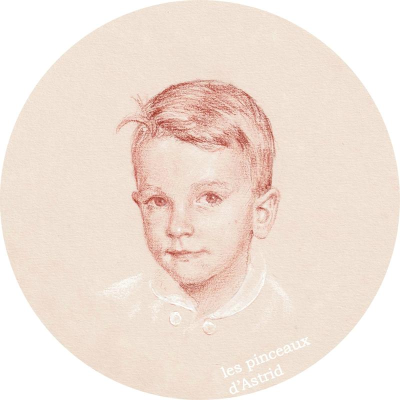 portrait enfant garçon rond sanguine xviiii commande